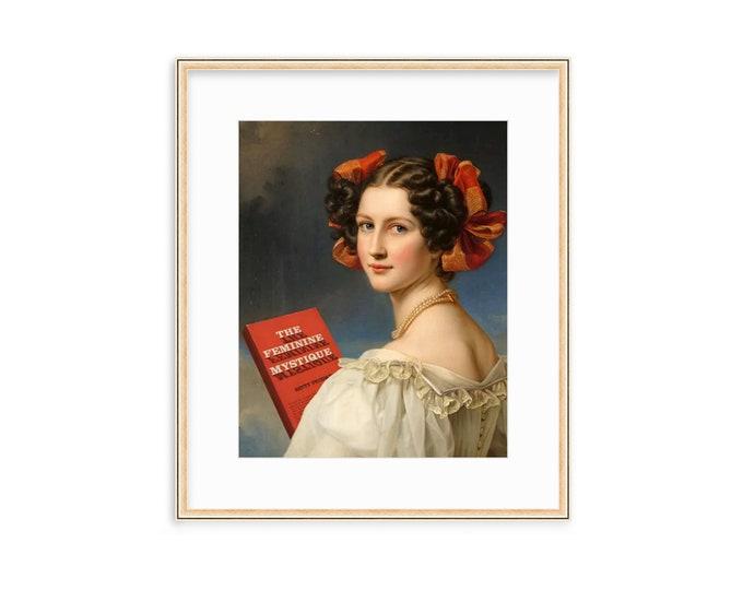 The Feminine Mystique -- Altered Vintage Art -- Feminist Decor