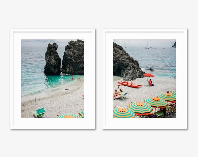 Italian Summer Diptych -- Beach Umbrellas -- Cinque Terre -- Travel Photography -- Home Decor