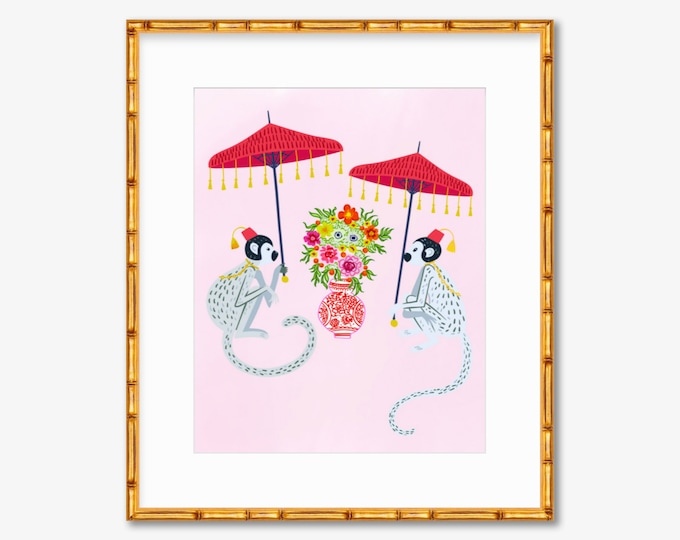 Chinoiserie Monkeys -- Art Print -- Home Decor