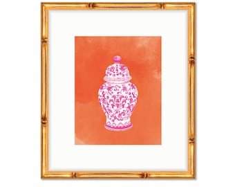 Pink and Orange Chinoiserie -- Art Print -- Home Decor -- Live Colorfully