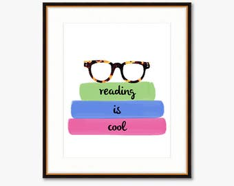 Reading is Cool -- Home Decor -- Illustrated Print