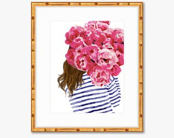 Navy Stripes and Pink Peonies -- Watercolor Print -- Home Decor