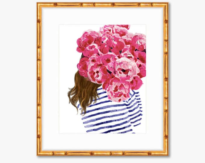 Featured listing image: Navy Stripes and Pink Peonies -- Watercolor Print -- Home Decor
