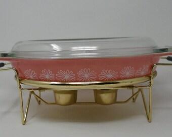 Vintage Pink Pyrex Gaiety Divided Daisy Dish JAJ & Warming Stand