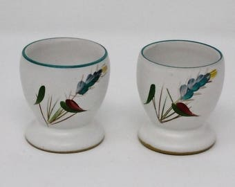 Pair of Denby Greenwheat Egg cups 1950's