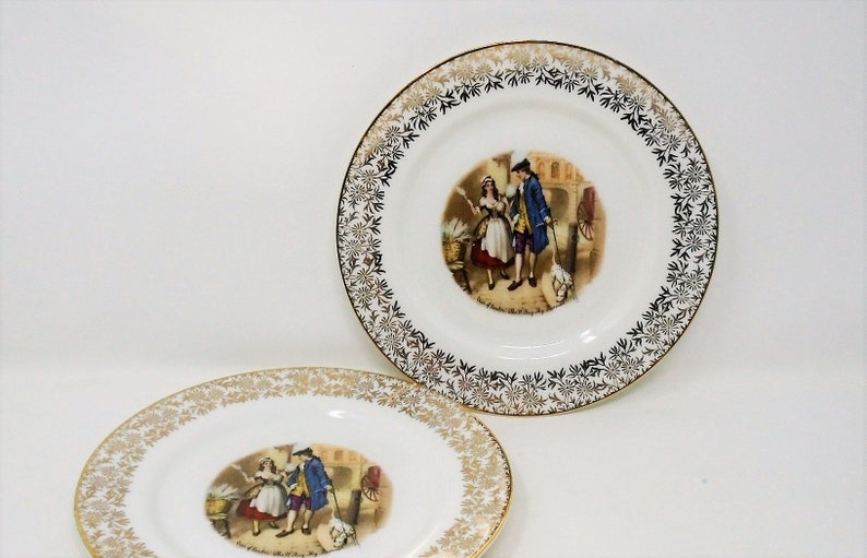 Vintage Crys Of London China Tea  Side Plate Gold Flower trim