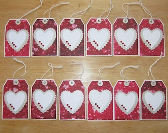 rhinestone heart gift tags love tags heart tags cricut gift tag set to and from tags party favor tags hang tags set of 12
