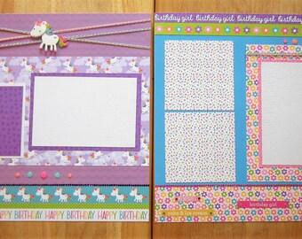 Birthday Girl Scrapbook Page - Birthday Girl Scrapbook Layout - 12 X 12 Scrapbook - Birthday Party - Unicorns - Magical Birthday Party