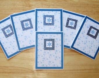 Snowflake Card - Christmas Snowflake Card - Merry Christmas Card - Homemade Christmas Card - Christmas Card Set - Set of Six (6) Cards