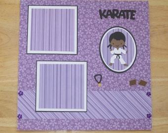 Karate Girl Scrapbook Page - Karate Girl Scrapbook Layout - 12 x 12 Scrapbook - Premade Layout - Girl Karate - Martial Arts - Tae Kwon Do