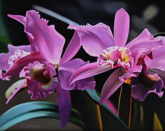 Orchid painting, Large Size, Pink Orchid, Pink Flower, Flower Painting, Nature, Hyperrealism Art, Realism, Canvas Painting, Certificate