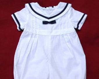 Maritime Sailor suit outfit for Christening / Wedding of organic cotton
