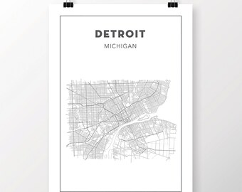 FREE SHIPPING to the U.S!! DETROIT Map Print