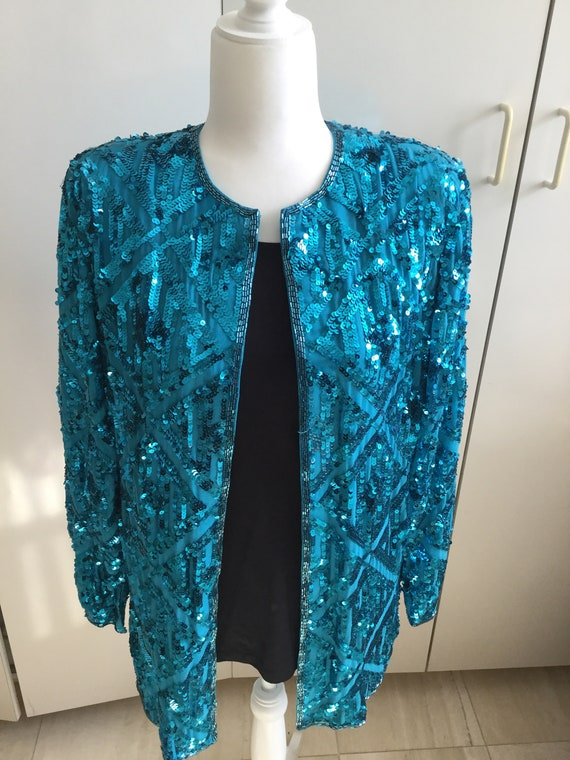 Turquoise  Sequin Evening Jacket with silk lining