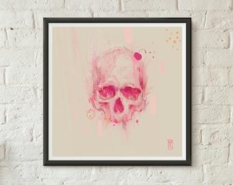 Modern Contemporary Artwork. Skull Print from original pencil illustration. Pink skull art poster for wall decor
