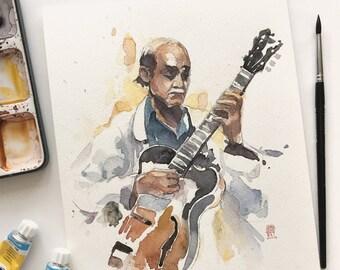 ORIGINAL handmade watercolor art for wall decor - Joe Pass virtuoso playing guitar hand drawn painting