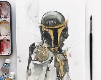 Mandalorian ORIGINAL handmade watercolor art for wall decor - Mando art. Star Wars original hand drawn painting