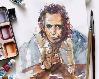Keith Richards portrait. ORIGINAL painting. The Rolling Stones Art. Watercolor painting for wall decor