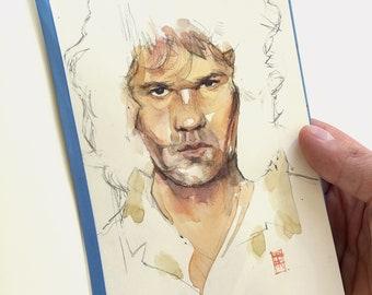 Gary Moore portrait ORIGINAL watercolor art.  Guitar hero hand-drawn art for music gift and wall decor