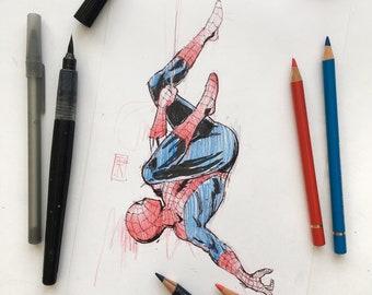 Spider man ORIGINAL drawing, original Marvel art. Marvel comics art - Spider-man. Hero poster, movie character art
