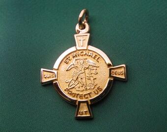 St michael medal 14k white gold archangel pendant necklace st michael medal 14k gold archangel police patron saint for women aloadofball Gallery