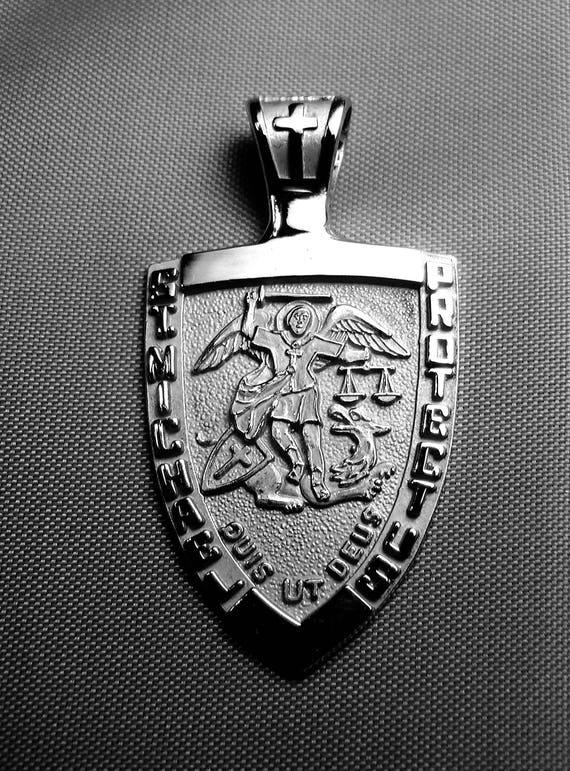 d4f28b206ee St. Michael Medal 14k white gold archangel pendant police | Etsy