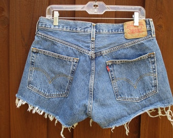 f2bb2abf 34W Levis 501 Med Wash Cut Offs Button Fly Frayed Side Split Shorts Classic  Fit Straight Leg Jean Shorts Pr #1