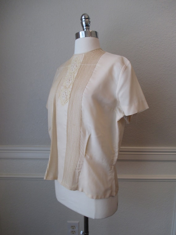 Sz L Morlove Ivory Blouse Pleated Lace French Kno… - image 4