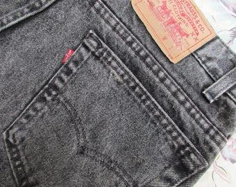 Sz 36x34 Vintage Levis 505 Jeans Mens Red Tab Straight Leg Distressed Denim Jeans Faded Black