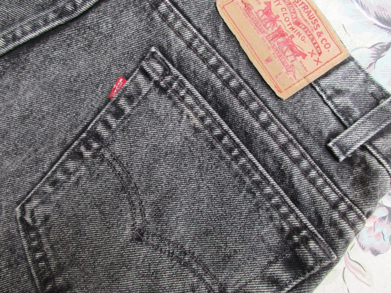 Sz 36x34 Vintage Levis 505 Jeans Mens Red Tab Straight Leg Regular Fit Distressed Denim Levi's Jeans Faded Black