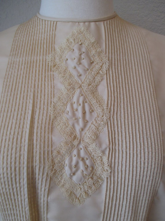 Sz L Morlove Ivory Blouse Pleated Lace French Kno… - image 3