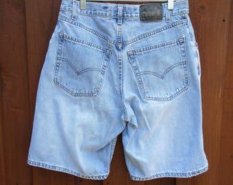 Sz 33 Levis Silvertab Vintage 90s Loose Fit Denim Shorts 1990s Hip Hop Loose Fit Jeans Shorts