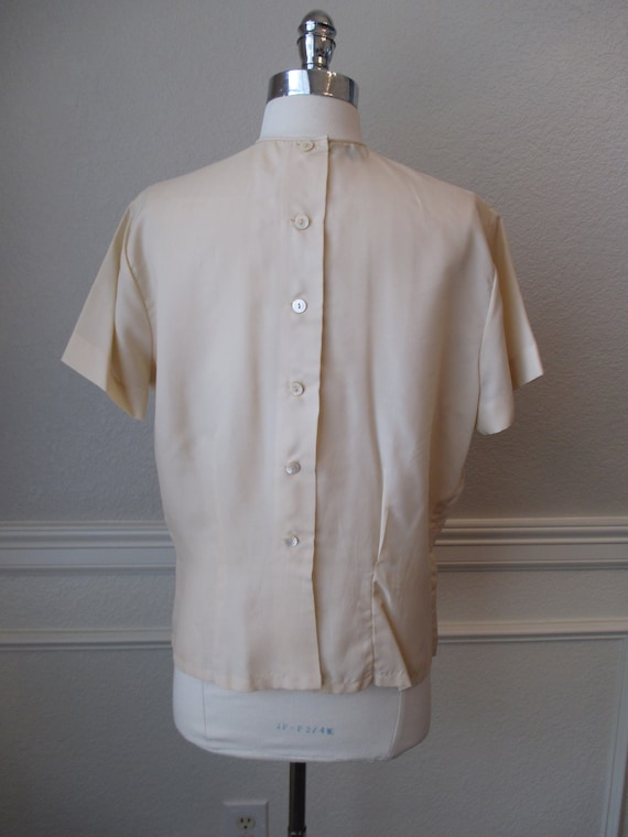 Sz L Morlove Ivory Blouse Pleated Lace French Kno… - image 6