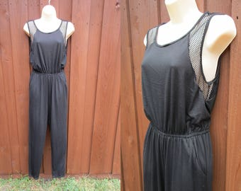 Black with Mesh Insets Jump Suit Romper Onsie Bailey Blue Made in USA Sz M