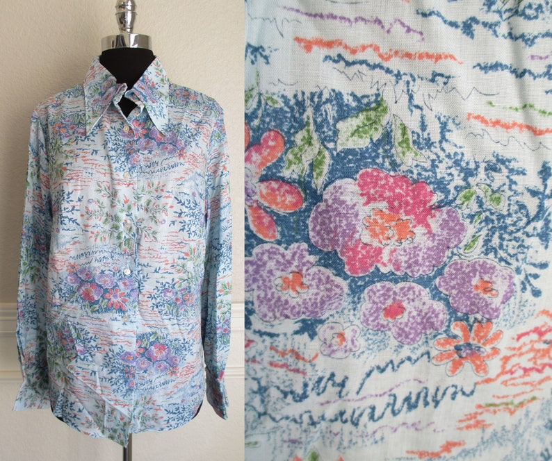 41e2f6c0b Blue Floral Print New Old Stock Blouse Long Sleeve Button | Etsy