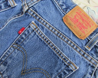 Sz 10 Levis 550 Jeans Womens 1990s Vintage Red Tab Relaxed Fit Tapered Leg High Waist Med Blue Wash Jeans Wash 90s Fashion