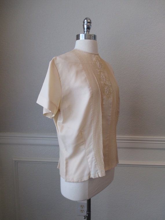 Sz L Morlove Ivory Blouse Pleated Lace French Kno… - image 5