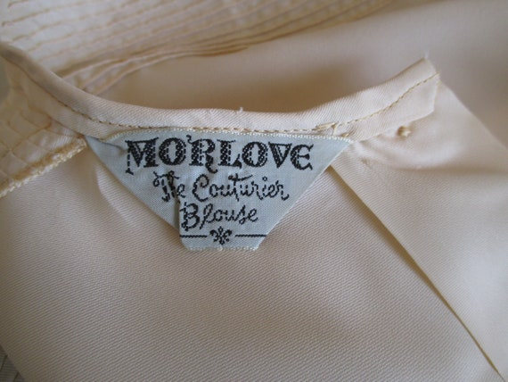 Sz L Morlove Ivory Blouse Pleated Lace French Kno… - image 7