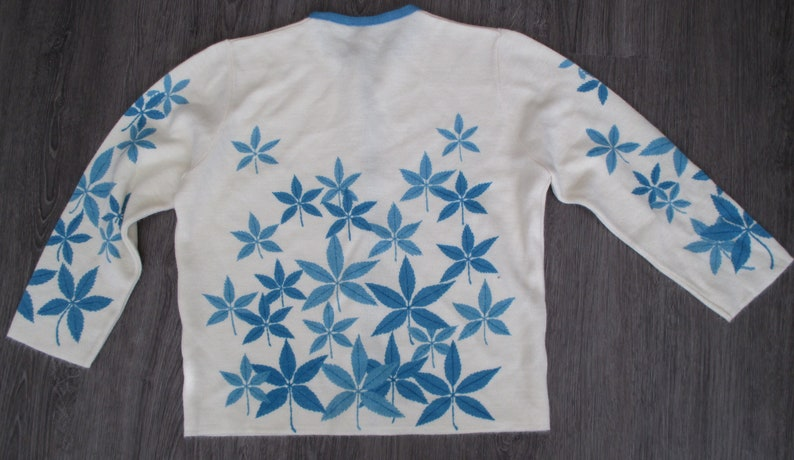 White with Blue Leaves Sweater Button Front Cardigan Sz S Bobbi Brooks Cardigan Sweater