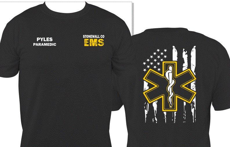 e29a59ea2 Department EMT EMS Stars and Stripes T-Shirt   Etsy