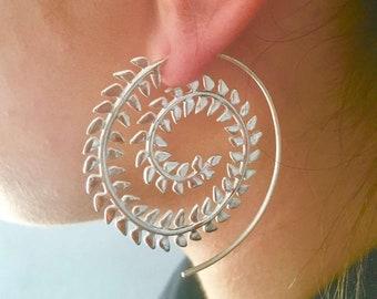Silver Spiral Earrings Silver Earrings Gypsy Earrings Indian Earrings Tribal Earrings Ethnic Earrings Statement Earrings ES119