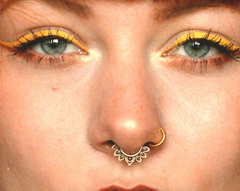Nose Ring 18 g Brass Septum Tribal Pierced Jewelry Gold Unique Piercing Lotus
