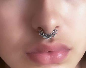Silver Septum Ring - Septum Jewelry - Septum Piercing - 18G Septum Ring - Indian Nose Ring - Indian Septum Ring - Tribal Septum Ring (S7)