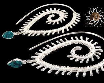 Silver Earrings - Silver Spiral Earrings - Gypsy Earrings - Tribal Earrings - Ethnic Earrings - Indian Earrings - Statement Earrings ES123