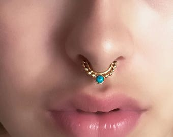 Gold Septum Ring - 16G Septum Ring - Indian Septum Ring - Tribal Septum Ring - Septum Jewelry - Septum Piercing - Nose Jewelry (G20)