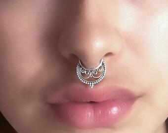 Silver Septum Ring - 16G Septum Ring - Indian Septum Ring - Tribal Septum Ring - Septum Jewelry - Septum Piercing - Septum Nose Ring (S36)