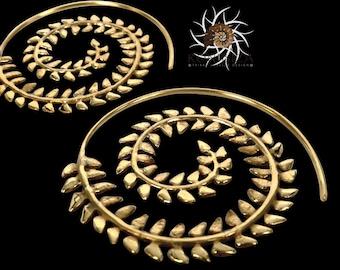 Brass Earrings - Brass Spiral Earrings - Gypsy Earrings - Tribal Earrings - Ethnic Earrings - Indian Earrings - Statement Earrings EB119