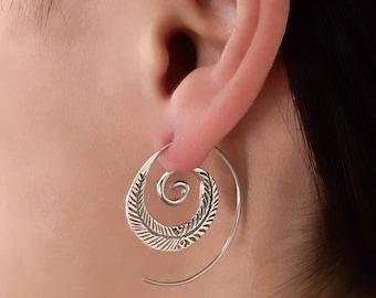 Silver Earrings - Silver Spiral Earrings - Silver Feather Earrings - Tribal Earrings - Ethnic Earrings - Indian Earrings - Statement (ES15)