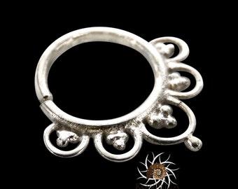 Ajeet Silver Septum Ring - Septum Jewelry - Septum Piercing - 18G Septum - 16G Septum Ring - Indian Septum Ring - Tribal Septum Ring (S4)