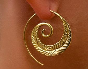 Brass Earrings - Brass Spiral Earrings - Gypsy Earrings - Tribal Earrings - Ethnic Earrings - Indian Earrings - Statement Earrings  (EB15)
